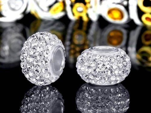 "Andante-Stones 925 Sterling Silber Kristall Bead ""White Princess"" Element Kugel für European Beads + Organzasäckchen"