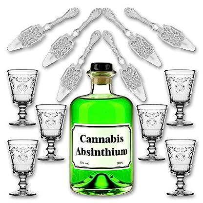 Cannabis-Absinthium-05l-55-vol-Alc-6x-Absinth-Glas-Versailles-200ml-6x-Absinth-Lffel-Antique