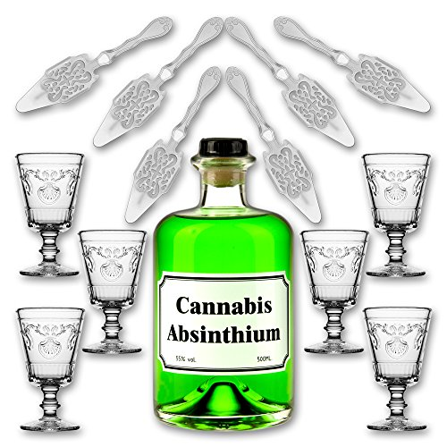 Cannabis-Absinthium-05l-55-vol-Alc-6x-Absinth-Glas-Versailles-200ml-6x-Absinth-Lffel-Antique