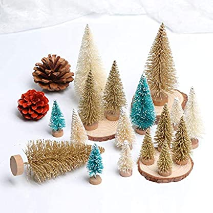 Lomire-12-Stck-Mini-knstlicher-Weihnachtsbaum-Tannenbaum-Christbaum-mit-Holz-Basis-Weihnachten-Tabletop-Bume-DIY-Handwerk-Ornament-fr-Home-Party-Dekoration
