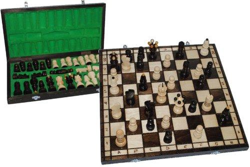 Schachspiel-mit-Schachfiguren-aus-Holz-mit-Schachkassette-Schachbrett-Reisespiel-Schach-natur