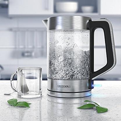 Arendo-Glas-Wasserkocher-Edelstahl-17-Liter-2200W-Cool-Touch-Griff-One-Touch-Verschluss-Automatische-Abschaltung-Integrierte-Kabelfhrung-berhitzungsschutz