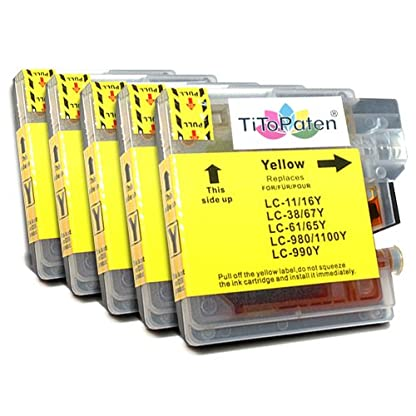 5x-kompatible-Premium-XL-Druckerpatronen-fr-Brother-DCP-195-C-in-Gelb-Sehr-gute-Laufleistung-und-Preiswert