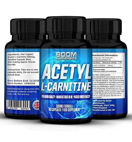 Acetyl L-Carnitin Hochdosiert 500mg | Starke Acetyl-Carnitin-Tabletten | Wirksame Nootropika | 90 leistungsstarke Kapseln für mehr Energie | Vorrat für VOLLE 3 Monate | Sicher und effektiv