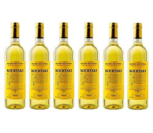 6x-750-ml-Retsina-Kourtaki-Spar-Set-12-gehartzter-Weiwein-Wei-Wein-aus-Griechenland-Attika-Savatiano