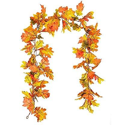YQing-2-Stck-Herbstgirlande-Ahornblatt-19-m-hngende-Weingirlande-knstliche-Herbstlaub-Girlande-Erntedank-Dekoration-fr-Zuhause-Hochzeit-Kamin-Party-Weihnachten