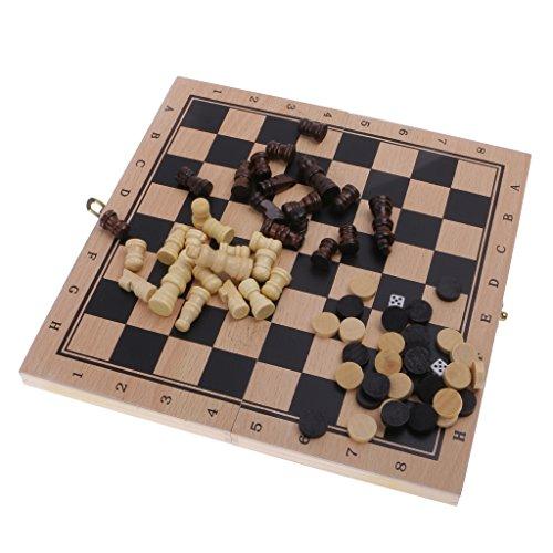 magideal 3 in 1 faltbar brettspiel aus holz schachspiel. Black Bedroom Furniture Sets. Home Design Ideas