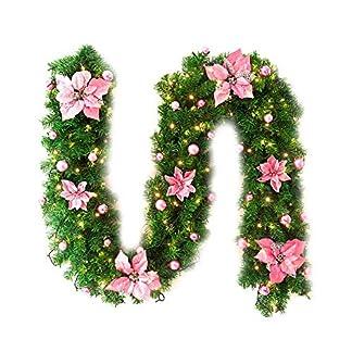 Shuda-Knstliche-Tannengirlande-Weihnachtsgirlande-Grn-27M-Dekogirlande-mit-Weihnachtskugeln-und-Blumen-Kamine-Treppen