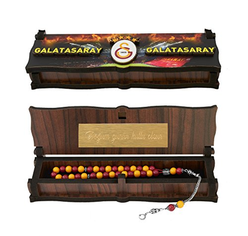 Gök-Türk Box Schatulle MIT GRAVUR aus Holz Handgemacht & 925 Sterling Silber Tesbih Gebetskette 'Galatasaray' für Fußballfans
