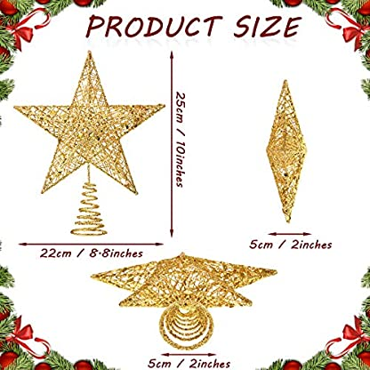 10-Zoll-Weihnachtsbaum-Stern-Spitze-Weihnachtsbaum-Topper-Stern-Weihnachten-Dekoration-Glitzernde-Baum-Top-Stern
