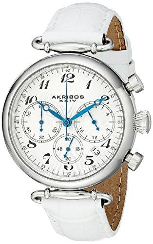 Akribos-XXIV-Quarz-Armbanduhr-Retro-fr-Damen-silberfarben-Edelstahl-weies-Lederarmband-AK630SSW