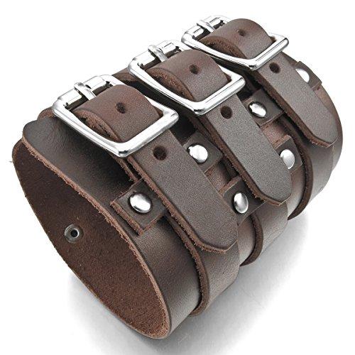 MunkiMix Metalllegierung Legierung Echtleder Armband Armreifen Manschette Silber Ton Braun Einstellbar Verstellbaren Herren
