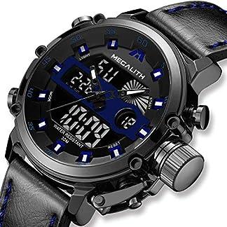Herren-Uhren-Herren-Digital-Militr-Chronographen-Sport-Wasserdicht-Armbanduhr-Mnner-Schwarz-Gro-Mode-Beilufig-Multifunktion-Kalender-Digital-Analog-Uhren-mit-Lederarmband-fr-Mnner-Blau