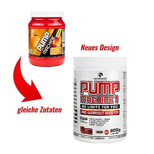 BWG Pump Machine 1, Pre Workout Booster (mit Koffein), Special Edition – Elite Line (mit Dosierlöffel) Cherry Fresh Geschmack – 800g Dose