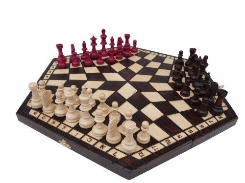 Massivholz-drei-Personen-Schachspiel