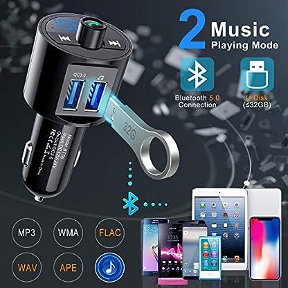 Clydek-Bluetooth-50-Auto-FM-Transmitter-QC30-Bluetooth-FM-Radio-Adapter-und-Empfnger-Kfz-Freisprecheinrichtung-Kfz-Ladegert-mit-zwei-USB-Anschlssen-Music-Player-Untersttzung-USB-Disk