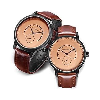 Menton-Ezil-Einzigartige-Armbanduhr-Paaruhren-fr-Damen-und-Herren-Spezielles-Zifferblatt-Design-Rosgold-Edelstahlgehuse-Braunes-Armband-Analog-Quarz-3-ATM-Wasserdicht
