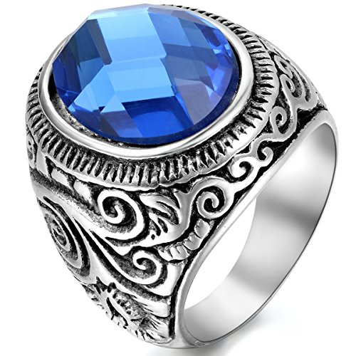 JewelryWe Schmuck Herren-Ring, Klassiker Retro Charm Schnitzerei, Edelstahl Glas, Blau Silber