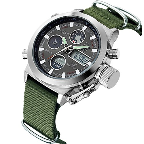 Herren-Sport-Digital-Analog-Quarz-Uhren-fr-Herren-Olive-Leinwand-Militr-Chronograph-Wasserdicht-Armbanduhr