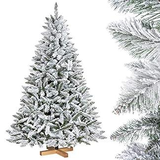 FairyTrees-knstlicher-Weihnachtsbaum-FICHTE-Natur-Weiss-mit-Schneeflocken-Material-PVC-inkl-Holzstnder-FT13
