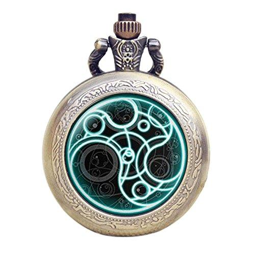 Dr-Who-leuchtend-blau-Gallifrey-Timelord-Dichtung-Bronze-Effekt-RetroVintage-Fall-Full-Hunter-HerrenJungen-Quarz-Taschenuhr-Halskette–auf-813-cm-Zoll80-cm-Kette