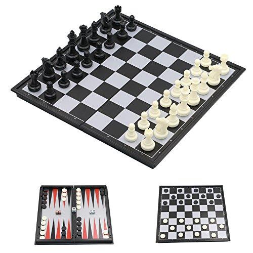 Schachspiel-Kunststoff-Magnetisch-Pdagogische-Schachbrett-fr-Kinder-Schwarz-und-wei