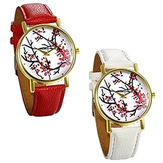 JewelryWe-Damen-Armbanduhr-Vintage-Klassisch-Basel-Stil-Analog-Quarz-Uhr-Ultra-dnn-mit-Leder-Armband-und-Rund-Pflaumeblumen-Blumen-Zifferblatt-Farbe-Wei-Rot