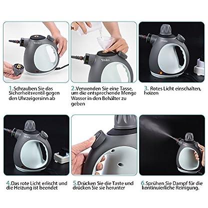 Dampfreiniger-Ymiko-Hand-Dampfreiniger-inkl-9-teiligem-Zubehr-Dampfreiniger-fr-Bad-u-Badezimmer-Boden-Fenster-Teppiche