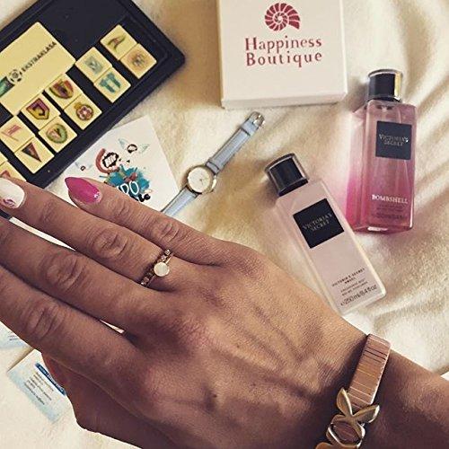 Happiness Boutique Damen Zierlicher Ring mit Kreis in Rosegold | Minimalist Ring in Pastellfarbe Edelstahlschmuck