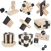 BJulian–3D-IQ-Holzpuzzle-9-Mini-Puzzlespiel-Knobelspiele-Geduldspiel-Set-Holzknoten-Rtselspiel-Geschicklichkeitsspiel-Ideen-Adventskalender-Inhalt
