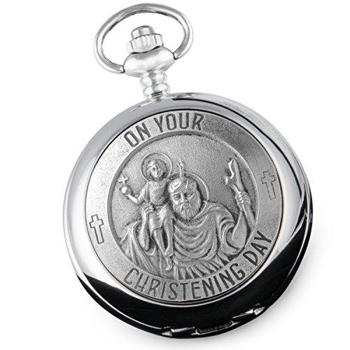 Einzigartige-personalisierbare-Sankt-Christopher-Taschenuhr-aus-Zinn-als-Geschenk-zur-Taufe-fr-Jungen-in-qualitativ-hochwertiger-Box
