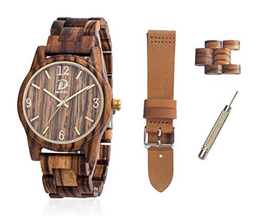 Holzuhr-Holz-Uhren-Geschenk-Set-fr-Mnner-Frauen-Zebra-Holz-Uhrengehuse-Hlzernes-vernderbares-Armband-Brown-echtes-Leder-Bgel-Extraarmband-Links-Werkzeug-Geschenk-Kasten