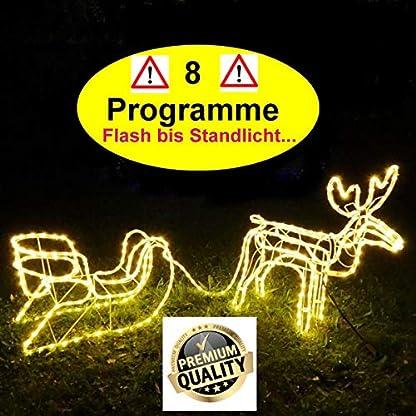 XXL-Magic-RentierSchlitten336-LED8-Programme-Flash-bis-Standlicht-ca-2-Meter-lang-70cm-hochDeluxe-PremiumwarmweissIP44Deko