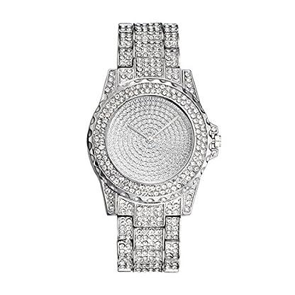 Souarts-Damen-Armbanduhr-Einfach-stil-Strass-Analoge-Quarz-Uhr-mit-Batterie-Silber-Farbe