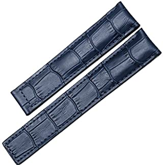 22-mm-Alligator-geprgt-Deployment-Uhrenarmband-Leder-blau-fr-Faltschliee