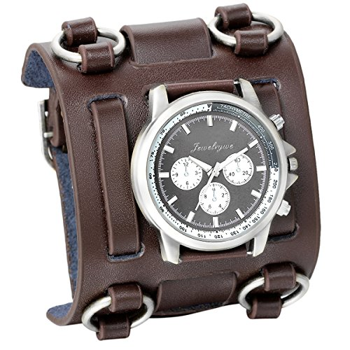 JewelryWe-Herren-Armbanduhr-Analog-Quarzuhr-Elegant-Casual-Sport-Uhr-mit-Braun-Breit-Leder-Armband-Schwarz-Zifferblatt