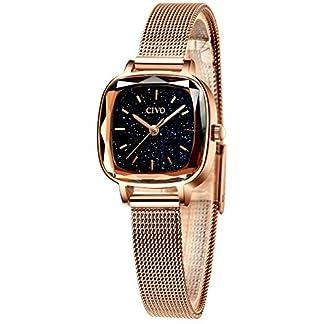 CIVO-Damen-Uhr-Damenuhr-Rosgold-Sternenhimmel-Ultra-Dnn-Einfach-Wasserdicht-Armbanduhr-Lssige-Mode-Analoge-Edelstahl-Mesh-Uhren-fr-Frauen-Damen-Mdchen