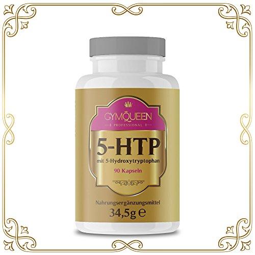 GymQueen Professional 5-HTP 200 mg hochdosiert | 5-Hydroxytrypthophan kann Appetit regulieren und Stress reduzieren | 90 rezeptfreie 5HTP Kapseln made in Germany