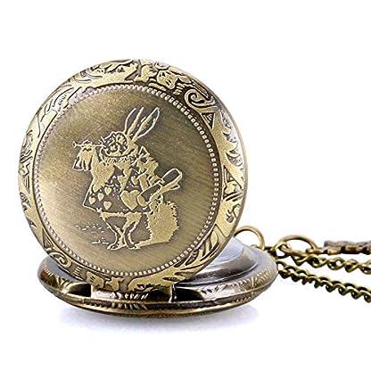 Herren-Taschenuhr-Romantische-Bronze-Poket-Alice-im-Wunderland-Cute-Watch-Geschenke-fr-Mnner