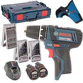 Bosch-Akkuschrauber-GSR-108-2-Li-2x-Akku-20AH-Lader-L-Boxx-3er-X-Proline-Kombi-Set-Holzbohrer-Metallbohrer-Bitsatz