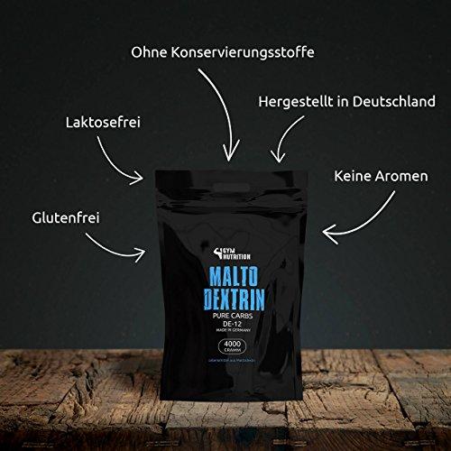 GYM-NUTRITION Hardcore Malto-dextrin | Feines Kohlenhydrate Pulver | Beliebt bei Fitness Powerlifing & Bodybuilding | Ideal für Hardgainer | Made in Germany | Maltodextrin 12 | 4 kg Beutel