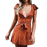 Sommerkleider-Damen-Mode-Blumendruck-Knopf-Lace-up-Bohe-Elegant-Kurzes-Minikleid-Partykleid-Strandkleid