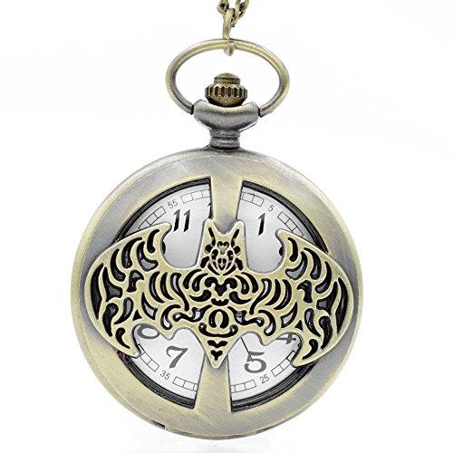 Batman-Filigrane-Logo-gebrstet-Bronze-Effekt-RetroVintage-Case-Herren-Quarz-Taschenuhr-Halskette–auf-813-cm-Zoll80-cm-Kette