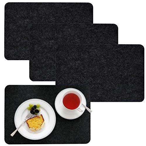 dunedesign 4 Extra-Dicke Filz Tischsets 43x30x0,5cm Edle Platzsets Platzdeckchen Tisch-Unterlage Filzunterlage Anthrazit