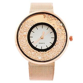 MJartoria-Damen-Vintage-Armbanduhr-Quarz-Uhr-Modeschmuck-Milanaiseband-Mode-Design-mit-Strass-Rosagold-Farbe