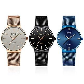 CIVO-Damen-Uhren-Damen-schwarz-Ultra-Dnn-einfach-Wasserdicht-Armbanduhren-Beilufig-Edelstahl-Mesh-Quarz-Uhr-fr-Frauen-Mdchen3-Pack