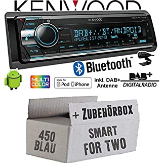 Autoradio-Radio-Kenwood-KDC-X7200DAB-DAB-Bluetooth-CD-2X-USB-hinten-iPhoneAndroid-Einbauzubehr-Einbauset-fr-Smart-ForTwo-450-blau-JUST-SOUND-best-choice-for-caraudio