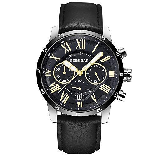 Uhren-Herren-Quarz-Classic-Luxury-Business-Armbanduhr-wasserdicht-Chronograph-mit-Lederband