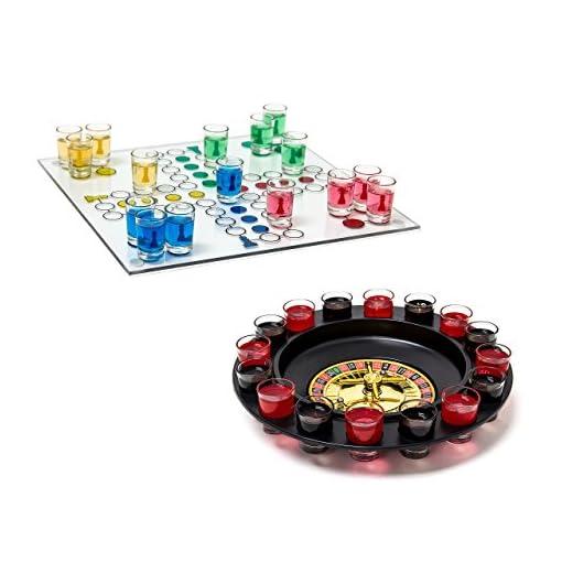 2-tlg-Trinkspiele-Set-Drinking-Ludo-Trink-Roulette-Saufspiel-Party-Spiel-Schnaps-Roulette-Erwachsene-je-16-Glser
