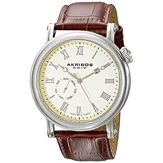Akribos-XXIV-Herren-Swiss-Analog-Quarz-Armbanduhr-mit-Leder-Armband